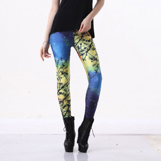 Yoga3 Yellow Star Digital Printing leggings summer paragraph breathable pants foreign trade selling leggings