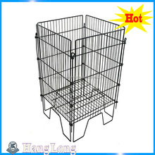 Movable Powder and Bottom Adjustable Coated Metal Wire Mesh Promotional Display Dump Bin