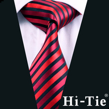 Hi-Tie Jacquard Woven Mens Red and Black Strip Wholesale Silk Tie A-0219