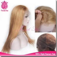 Female Star 8A 100% human hair blonde straight glueless silk top full lace wigs