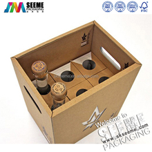 CUSTOMIZED SIX PACK BOTTLES CARRIERS JUICE BEVERAGE BEER PACKAGING CARTON BOX WITH HANDLES