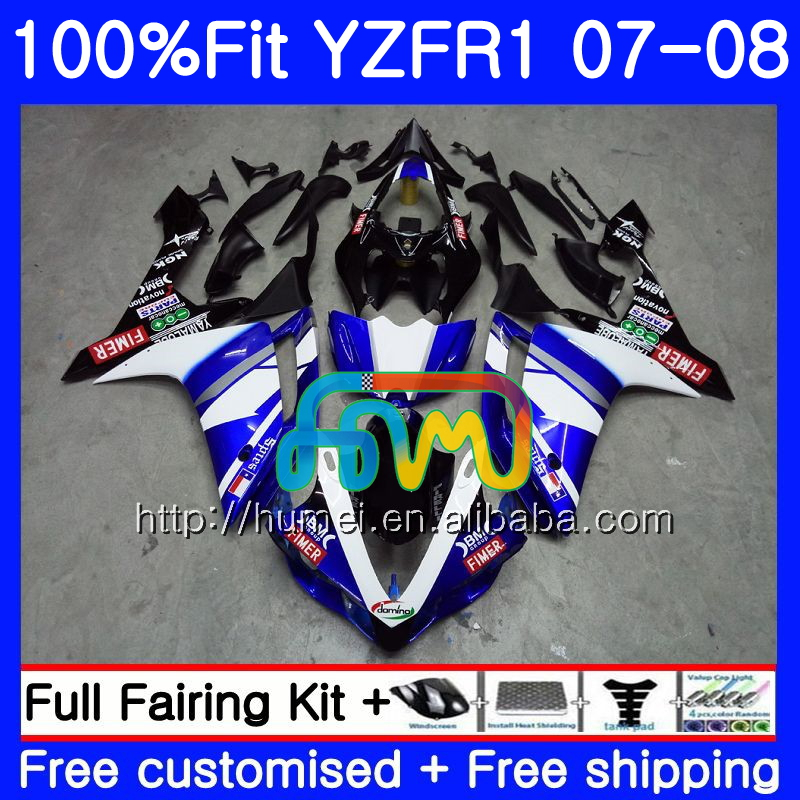 Injection blue black Bodys For YAMAHA YZF 1000 R 1 YZF <strong>R1</strong> 07 08 90HM1 YZF1000 YZFR1 07 08 YZF-1000 YZF-<strong>R1</strong> 2007 <strong>2008</strong> <strong>Fairing</strong>