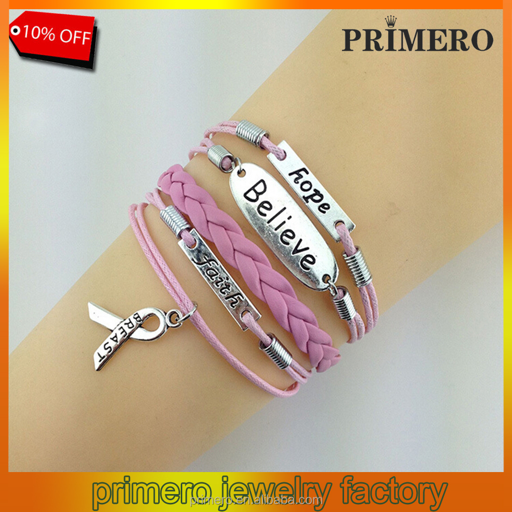 PRIMERO Multilayer Leather Rope Handmade Pink Breast Cancer Ribbon Bracelet Word Hope/Faith/Believe Charm Awareness Bracelet