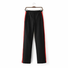 Women Long Pant Casual Style Side Belt Red Striped Stitching Wide Leg Pants Black Casual Loose Trousers