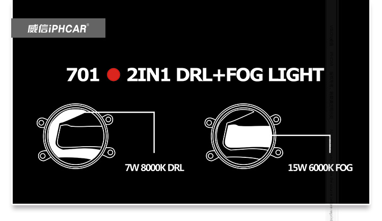 IPHCAR Universal projector motorcycle fog lamp led angel eye projector fog light for automotive