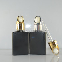 luxury cosmetic packaging of rectangualr matt color coating color black glass bottle