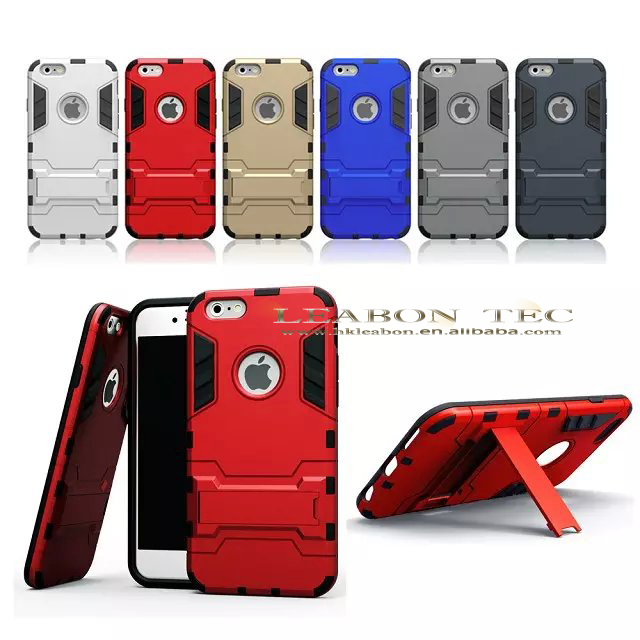 new arrival TPU+PC hybrid case heavy duty stand mobile phone cover for iphone 6 case