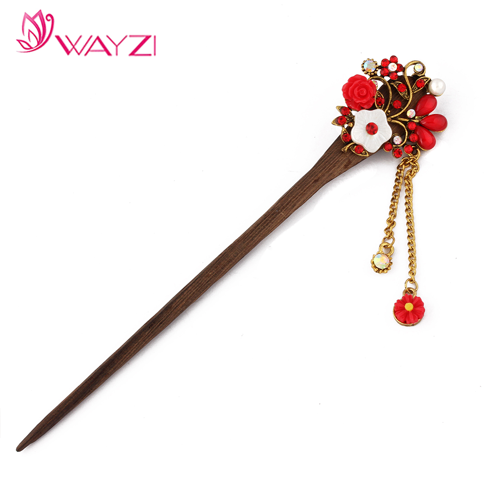 wayzi brand alloy rhinestone flower long tassel chinese vintage style beautiful hair accessory hairpins hair stick