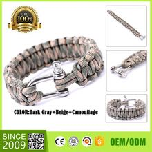 2014 New Designs Stainless Steel Survive Buckles Cord Bracelet D Shackle