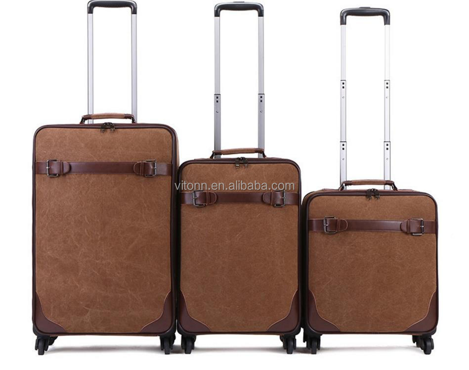 wholesale durable canvas trolley luggage bag handle, travel airport 16''/20''/24'' trolley luggage set in stock