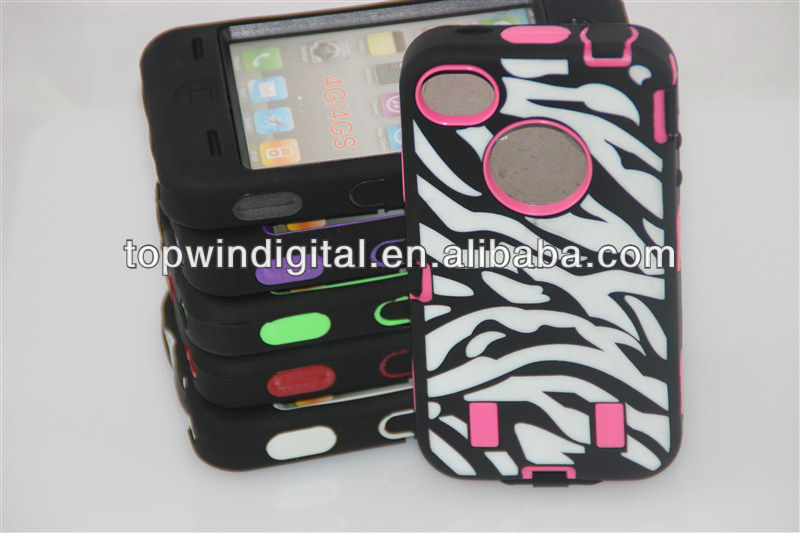 Good quality 2 in 1 India Flower Silicone+PC case for Iphone5