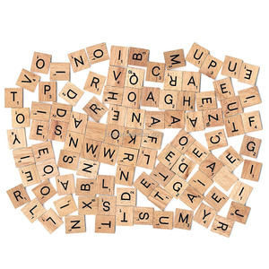 Child Early Learning Wooden Scrabble Tiles Board Alphabet Puzzle Toy