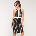 sexy slim fit mini dress sleeveless high neckline and decorate with white stripes dress