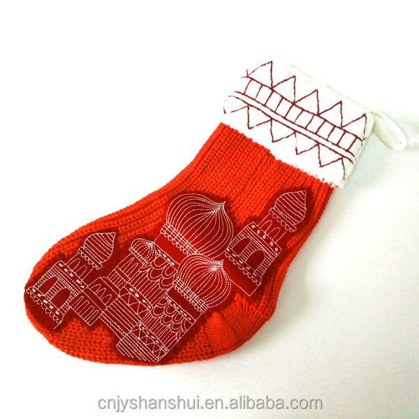 Christmas Stocking Red knitted cable knit boot sock with pattern