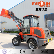ER12 Everun Brand Mini Wheel Loader With Sweeper/ V Style Snow Blade