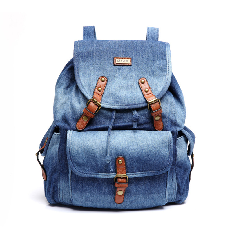 Lady Fashion Blue Washed Denim Jeans Backpack,High quality outdoor sports denim backpack with inner pocket zipper