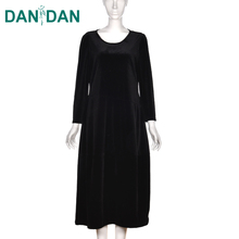 Factory price long sleeve woolen winter fashion ladies simple fashion casual long black dress