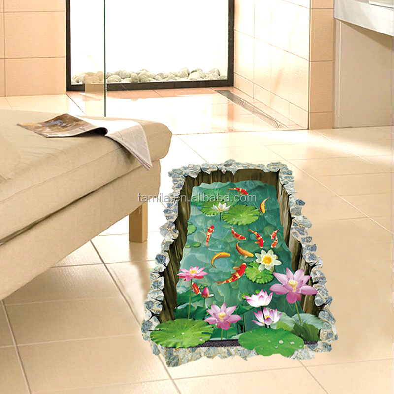 3d effect creative lotus 3d floor sticker removable pvc bathroom toilet stickers transparent wall decal home decor wallpaper