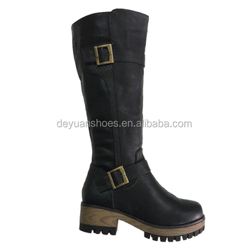 2017 new style winter black leather comfortable women boots
