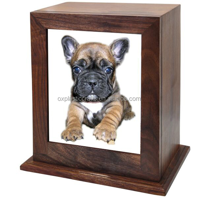 Cheapest wholesale handmade pet casket with photo solid wood funeral urn bulk sale