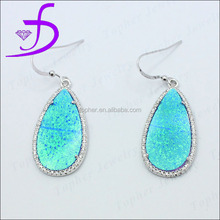 925 sterling silver fish hook blue opal earring synthetic opal earring with pave setting CZ