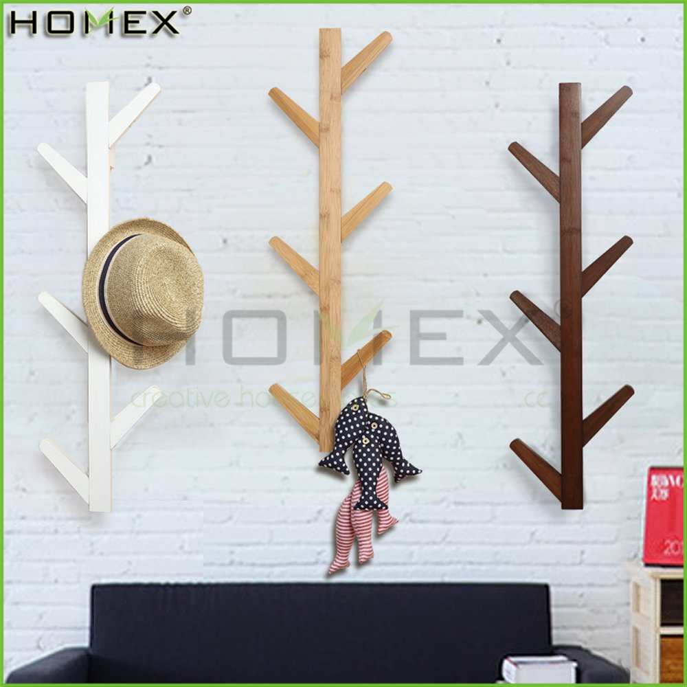 Wall Mounted Bamboo Hat Rack Coat Rack Key Rack/Homex_FSC/BSCI Factory