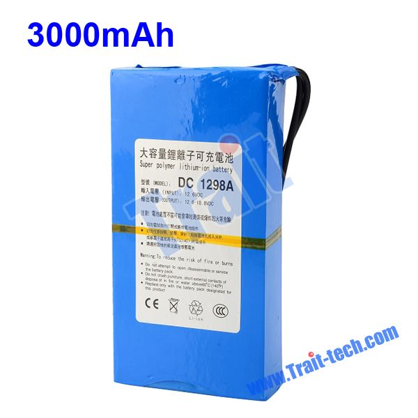 DC 1298A 12V Rechargeable Li-polymer 3000mah Battery Pack Portable