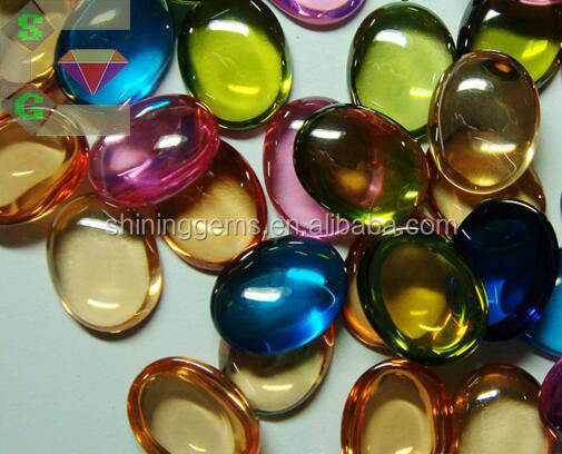 colorful wholesale fabulous oval cabochon cut glass gems stones for jewelry making