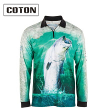 wholesale performance fishing clothes 100% polyester sublimation printed fishing shirt quick dry fishing shirts