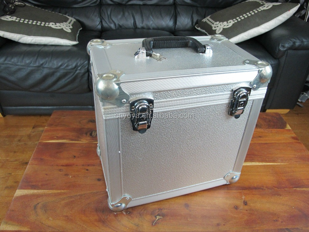 Aluminium Metal Heavy Duty Vinyl Record Case Carry Box + two keys