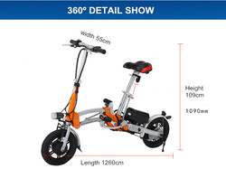 "2016new folding pocket electric bike/12""/36/v200-250w/"