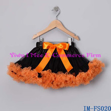 Bulk Wholesale Kids Halloween Clothing Fashion Littler Girls Black Tulle Skirt with Orange Ruffles for Thanksgiving Day IM-FS020