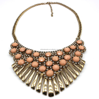 Imitation top sell acrylic beads with stones chunky alloy necklace