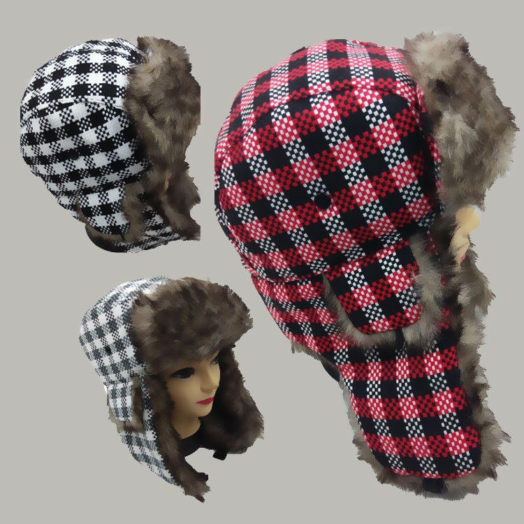 Wholesale Men Checked Earflaps Winter Trapper Hat With Earflap