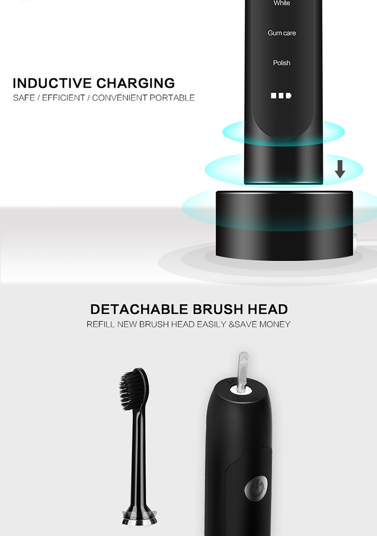 Hot selling good quality IPX7 waterproof chargeable adult home electric sonic power toothbrush