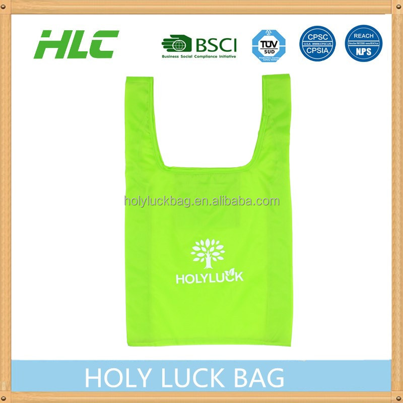 small MOQ long handle polyester recycle extra large shopping bag