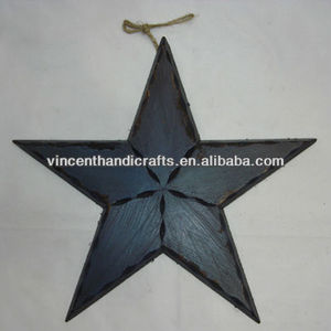 Primitive antique distressed wall decoration blue wood craft hanging barn star