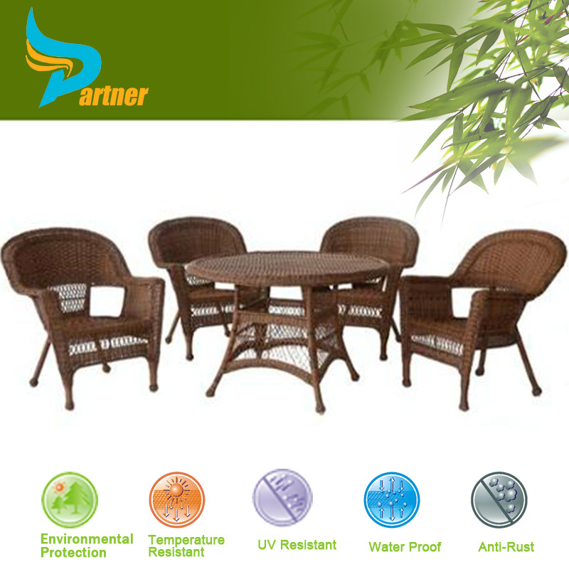 Classic Design Patio Garden Rattan Wicker Furniture / Rattan Garden Dinner Table Wicker Dining Room Set