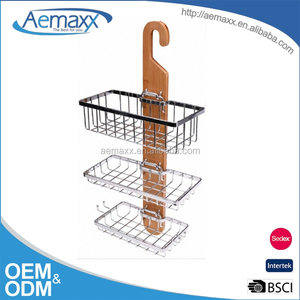 Bamboo unique hanger design triple tiers shower caddy shelf chrome plating bathroom shampoo rack