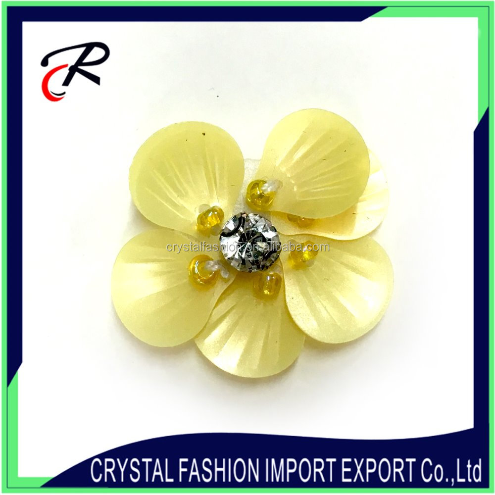 Custom wholesale handmade rhinestone 3d flower patches for clothing