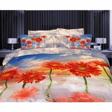 Puff Comforter Sets Comfortable Bed Set With Blue Sky And Orange Flower Pattern