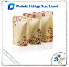 printed kraft paper pouchs/ Custom printed Brown Kraft Paper zipper Food Packaging / Stand Up kraft paper Bag
