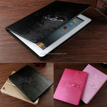 black 3D crocodile pattern stand flip leather case for ipad 6 air 2, for ipad air 2 leather cover
