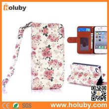 Lichee Pattern Wallet Style Stand PC+PU Leather Flowers Case for iPhone 4S 4 with Strap