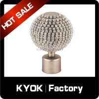 Factory direct selling round aluminum curtain finial,wrought iron curtain rods