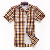 luxury classic european short sleeve button down check cotton dress shirt for men