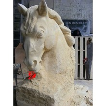 limestone head statue of horse