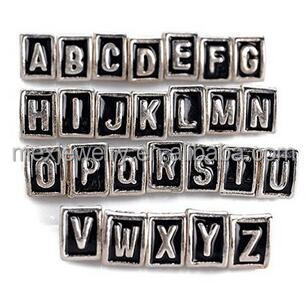 26pcs Silver Plated Triangle A-z Initial Alphabet Letter Spacer Beads Charms for Snake Chain Bracelet Jewelry Making