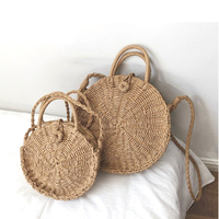 New design straw round woven beach handbags for women shoulder cross body woven bag wholesale