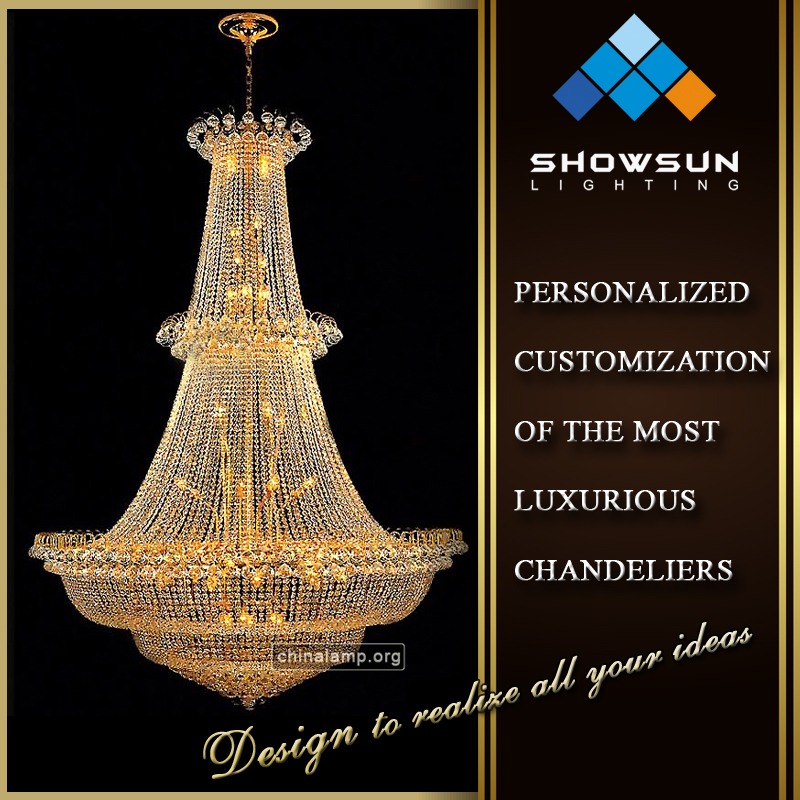 2016 Zhong Shan lighting factory luxury crystal hotel chandelier